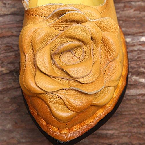 Mordeniss Frauen fallen neue flache Blumenmuster Schuhe Stil 5-gelb