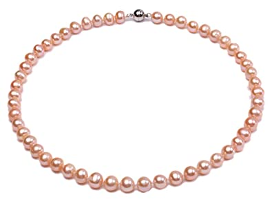 7bebce719 Amazon.com: JYX Pearl Strand Necklace AA 8-9mm Natural Pink Round ...