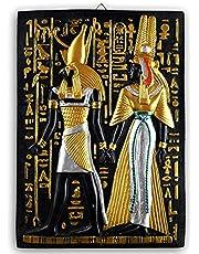 منحوتة حائط مصنوعة يدويًا بنمط فرعوني وكتابة هيروغليفية من البورسلين، لوحة فرعونية مصرية من جولدن توت، تقريبًا 30 × 35 سم، متعددة الالوان