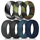 ThunderFit Silicone Rings, 7 Pack & Singles Wedding Bands for Men - 8.7 mm Wide (Green Camo, Grey Camo, Camo, Dark Grey, Black, Dark Teal, Navy Blue, 8.5-9 (18.9mm))