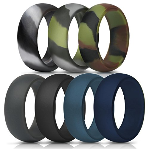 ThunderFit Silicone Rings, 7 Pack & Singles Wedding Bands for Men - 8.7 mm Wide (Green Camo, Grey Camo, Camo, Dark Grey, Black, Dark Teal, Navy Blue, 11.5-12 (21.3mm))