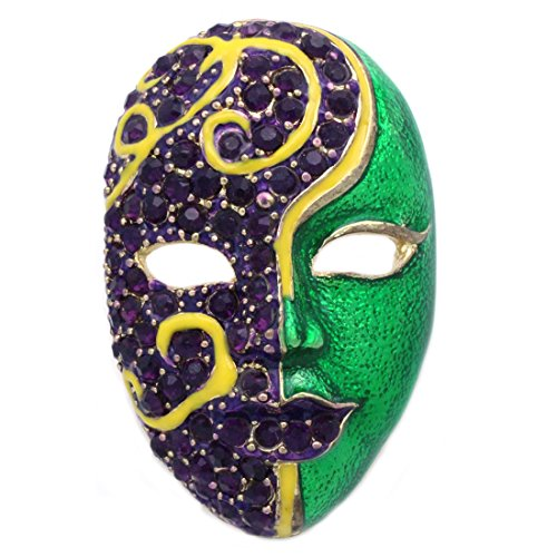 Exclamation Mark Costume (cocojewelry Masquerade Costume Ball Mask Purple Crystal Green Halloween Brooch Pin)