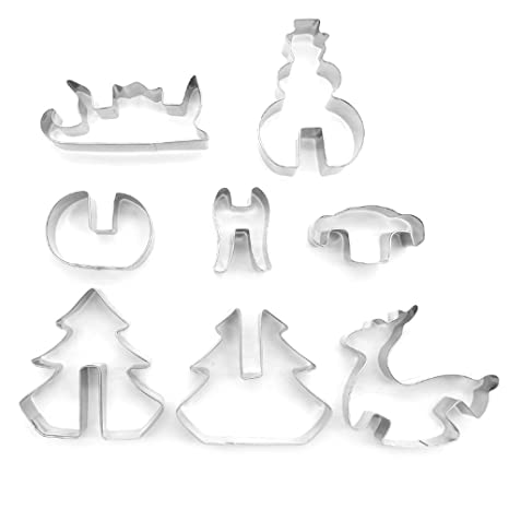 refurbish House Juego de moldes – 8 piezas. Acero inoxidable de moldes para niños –