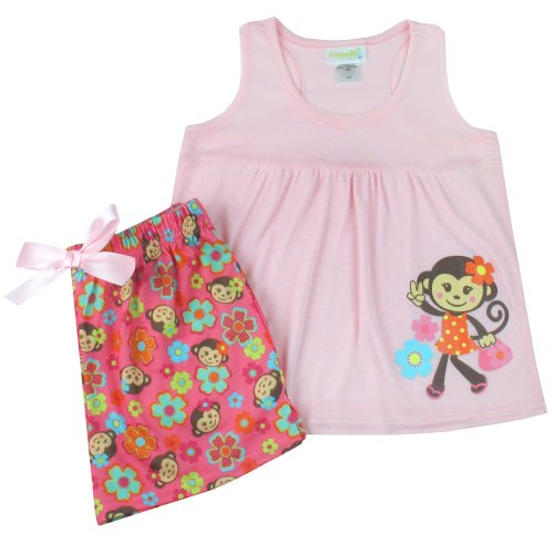 Robe Capelli (Capelli New York Little Girls Dotted Daisy Monkey 2 Piece Set: Tank and Short Pink Combo 4/5)
