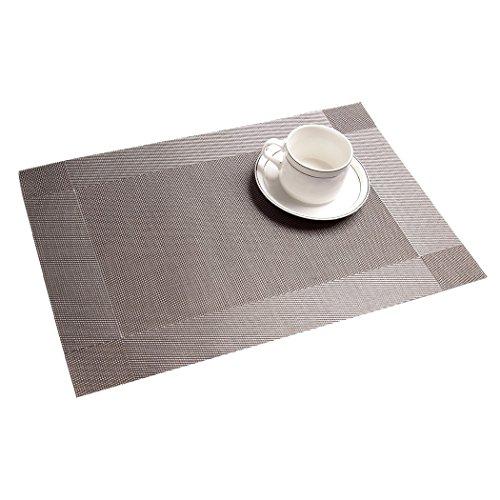 Tischsets (6er Set) - ALLTOP Sets Tabellenplatzmatten Abendessen waschbare Kunststoff Vinyl platzsets / tischläufer, 45 * 30cm, Silber