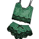 2019 Women's Sexy Satin Sling Lingerie Lace Bowknot Sleepwear Nightdress 2-Pc Underwear (Green, XL)
