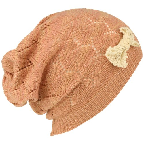 Ladies Lace Bow Vented Soft Shimmer Knit Long Beanie Slouchy Skull Hat Cap Pink ()