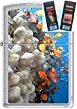 Zippo 0751 Coral Reef Fish Chrome Lighter Withflint & Wick Gift Set