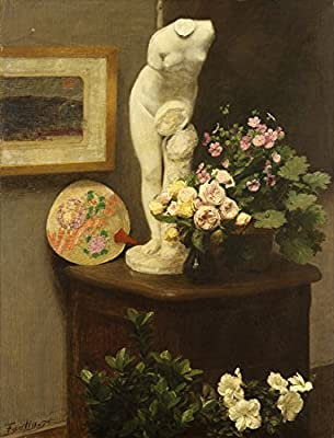 Still Life With Torso And Flowers By Henri Fantin-Latour. 100% Hand Painted. Oil On Canvas. Reproduction. (Unframed and Unstretched).
