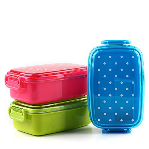 Best Quality - Lunch Boxes - Dot Lunch Box Tableware School Food Container Bento Sushi Box Kid Baby Fruit Snack Portable Microwave Lunch Boxes 1B - by SeedWorld - 1 PCs