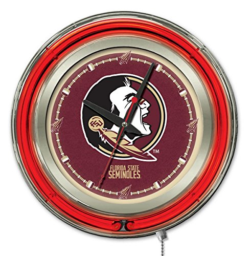 Holland Bar Stool Co. NCAA Florida State Seminoles Double Neon Ring Logo Clock, 15-Inch Diameter, Chrome
