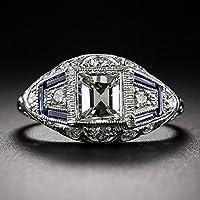 4.6CT White Topaz Vintage 925 Silver Jewelry Wedding Woman Man Ring Size 6-10 by Siam panva (6)