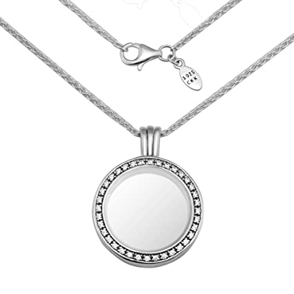 08ecc39217f8c CKK Necklace 925 Sterling Silver Medium Floating Locket Round Memory  Necklaces Fit Pandora Petites Gift for Women,60cm
