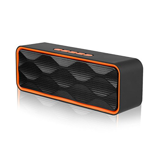 Wireless Bluetooth 4.2 Speaker, Emopeak S1 Outdoor Portable Stereo Speaker with HD Audio and Enhanced Bass, Built-In Dual Driver Speakerphone, Handsfree Calling, FM Radio, TF Card Slot (S1-Orange)