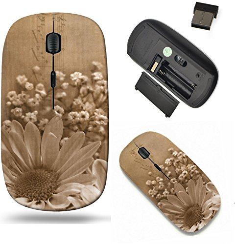 Liili Wireless Mouse Travel 2.4G Wireless Mice with USB Receiver, Click with 1000 DPI for notebook, pc, laptop, computer, mac book Daisy bouquet in sepia and textured layers with music Photo 5844149