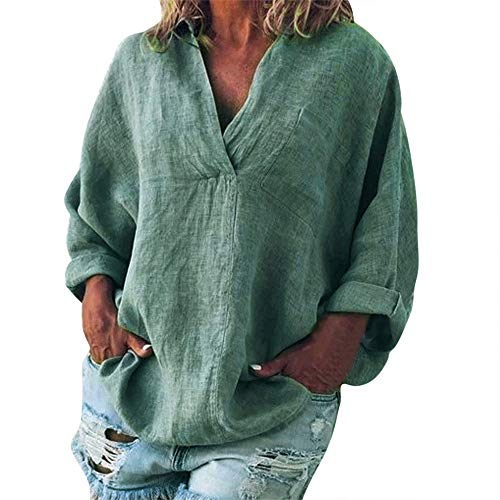 - Women Fashion Plus Size Solid Casual Linen V-Neck Blouse T-Shirt