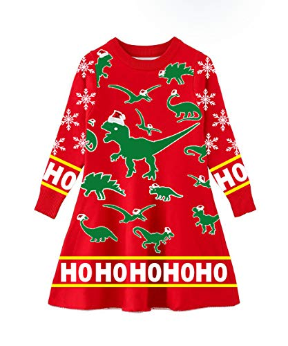 Funnycokid Toddler Kids Baby Girl Ugly Christmas Costume Dress Long Sleeve Xmas Dinosaur Knitted Sweaters]()