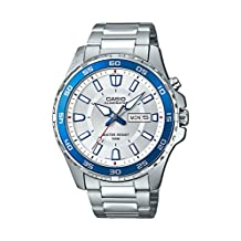 Casio Men's 'Super Illuminator' Quartz Stainless Steel Casual Watch, Color: Silver-Toned (Model: MTD110D-7AV)