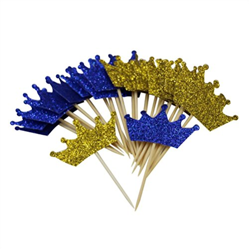 Mybbshower Gold Royal Blue Glitter Crown Cupcake Toppers for First Birthday Party Prince Baby Shower Decorations Pack of 24]()