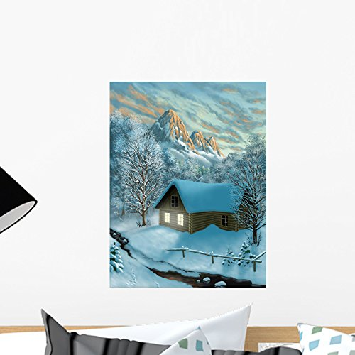 - Wallmonkeys Winter Mountains and Chalet Wall Mural Peel and Stick Graphic (18 in H x 14 in W) WM344640