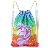 Basumee Unicorn Mermaid Sequin Bag Reversible Sequins Drawstring Backpacks Review