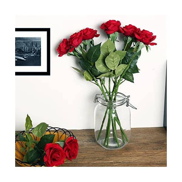 KISMEET-Artificial-Roses-Fake-Silk-Flowers-Real-Touch-Long-Stem-for-Wedding-Party-Home-Office-Outdoor-Craft-Decoration-Pack-of-10