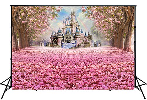 Muzi Photography Backdrop Beautiful Pink Woods Children Princess Girls Photo Booth Backdrop Studio Props with Flowers on The Floor in Spring 6.5x5ft W-314 -
