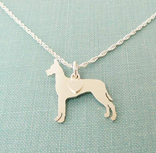 - .925 Sterling Silver Great Dane Dog charm Necklace Pet memorial silhouette jewelry