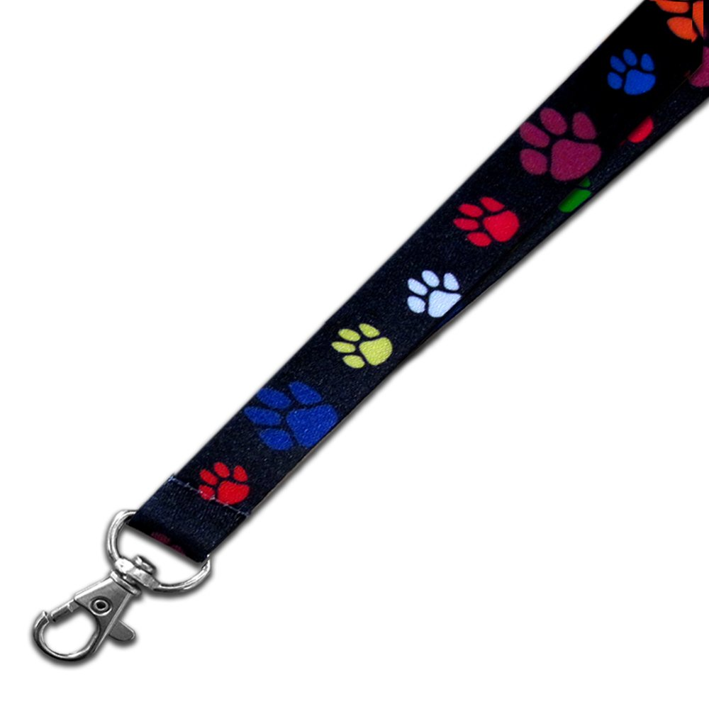 PinMart's Multi-color Red Paw Print School Mascot Sports Lanyard w/ Safety Release