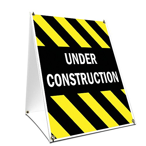 """A-Frame Sidewalk Under Construction Sign with Graphics On Each Side 