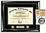 Personalized Engraved Certificate Frame Diploma Frames Double Dual Logo Insignia University Framing Glossy Majestic Black Gold Accents Graduation Gift College Degree Frame Double Dual matted