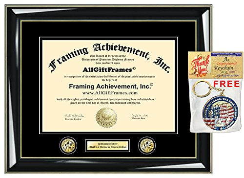 (Personalized Engraved Certificate Frame Diploma Frames Double Dual Logo Insignia University Framing Glossy Majestic Black Gold Accents Graduation Gift College Degree Frame Double Dual)