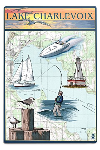 Charlevoix, Michigan - Nautical Chart (12x18 Aluminum Wall Sign, Wall Decor Ready to Hang)