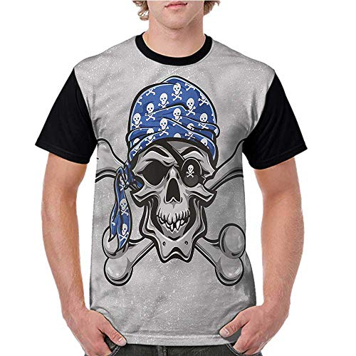 Raglan Baseball Tee Short Sleeve,Skull,Pirate Evil Head Bones S-XXL Men Fashion Shirts