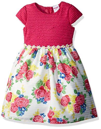 Nannette Little Girls' Tie Back Cap Sleeve Organza Dress, Pink, 5 (Pin Little Pink Dress)