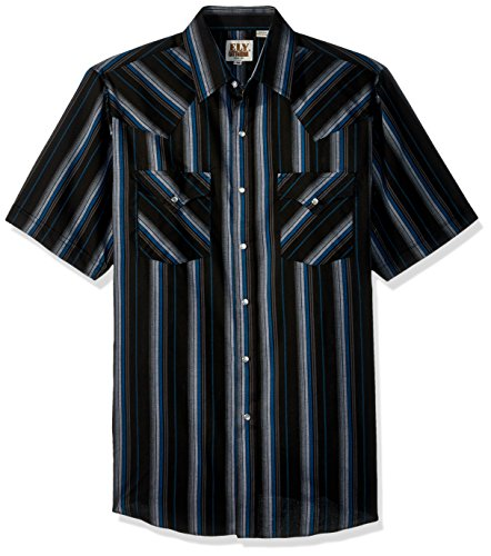 (Ely & Walker Men's Short Sleeve Stripe Western Shirt, Black Medium)