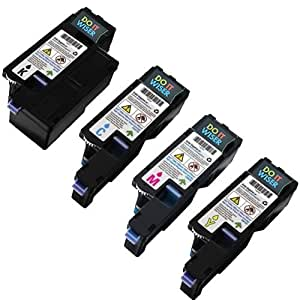 4 Cartuchos de Tóner Compatibles Doitwiser ® para impresoras Dell 1250c 1250 1350cnw 1355cn 1355cnw C1760NW C1765NFW C1765NF - 593-11016 593-11021 593-11018 593-11019 - Negro Cian Magenta Amarillo - Alto Rendimiento 2.000 páginas en negro y 1.400 páginas en color
