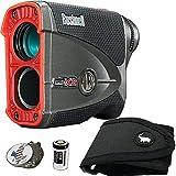 Bushnell BUNDLE Pro X2 Golf Laser Rangefinder + 1 STICKIT Magnetic Golf Rangefinder Cart Mount (Black) + 1 Custom Ball Marker Hat Clip Set (US Flag)