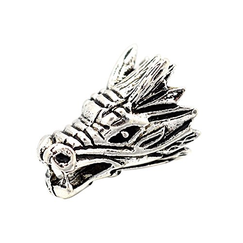 NBEADS Tibetan Style Antique Silver Alloy Animal 3D Dragon Head Pendants for Jewelry Making, Lead Free & Cadmium Free & Nickel Free, 17x11x11mm, Hole: 3mm