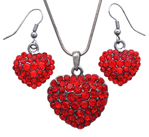 Valentine's Day Red Heart Earrings Love Be Mine Dangle Hook Style Paved Rhinestone Fashion Jewelry (Red Set) -