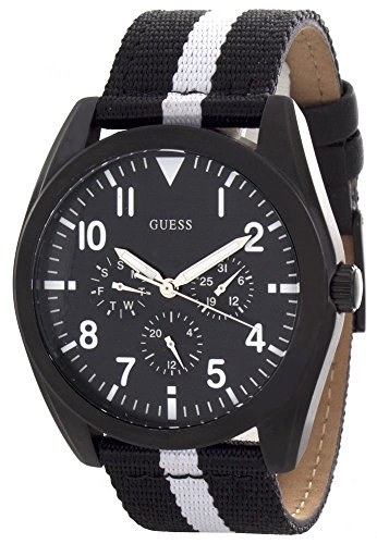 GUESS Men's Black Dial Black and White Fabric Strap Multi-function Watch W90067G1