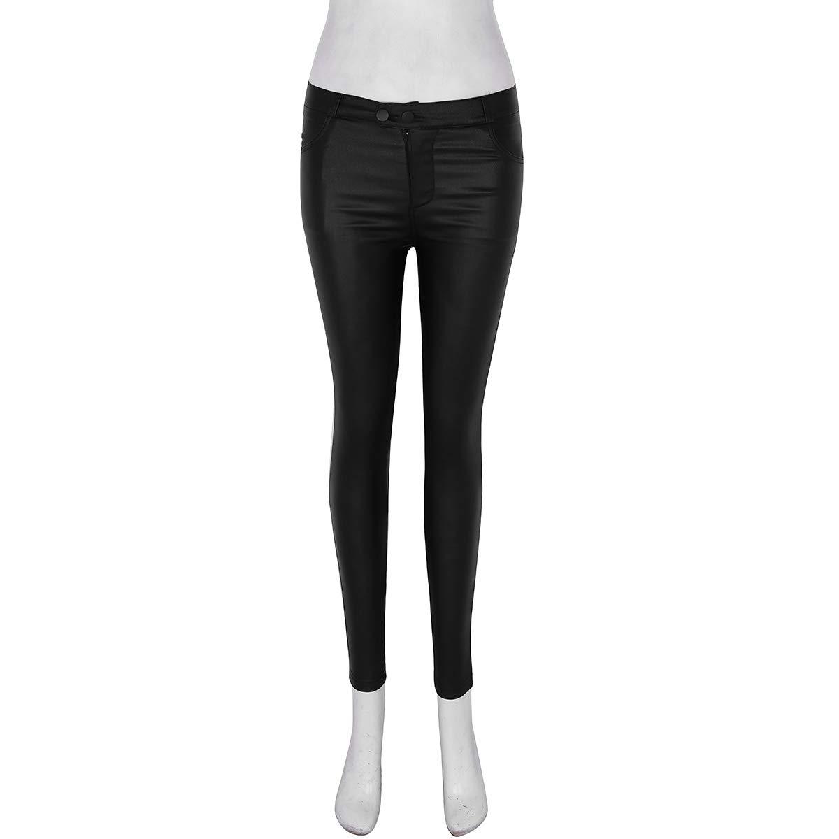 Damen Hohe Taille Leder Hose PU Leggings Stretch Slim Lackleder Bleistift Hosen