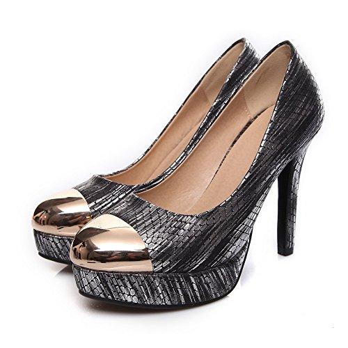 VogueZone009 Ziehen Pumps Rund Farbe Schuhe Zehe auf Damen Schwarz Gemischte Stiletto rn8rBYgxqw