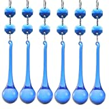 H&D 10pcs Crystal Raindrop With Octagon Beads Chandelier Prisms Pendants Lamp Curtain DIY Suncatcher Parts (Cobalt Blue)