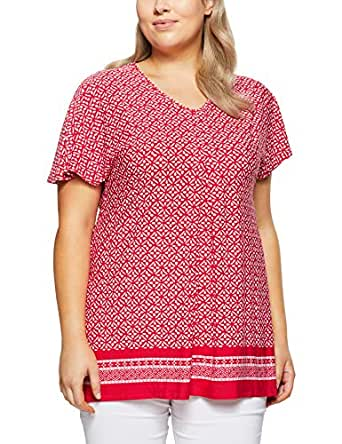 My Size Women's Plus Size Beach Party Border Top, Red, Small