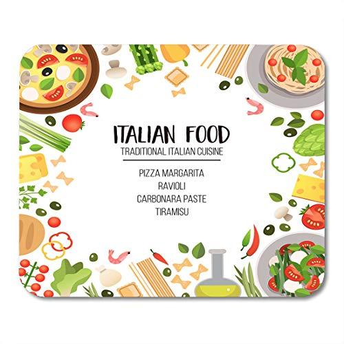 (Nakamela Mouse Pads Bright of Traditional Italian Cuisine Pasta Pizza Cheese Olives Seafood Vegetables and Herbs Dishes Mouse mats 9.5