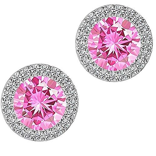 (Trendzjewels Created Round Diamond Wedding for Women's Jewelry Halo Stud Earrings White Gold Finish (Pink Created Diamond))