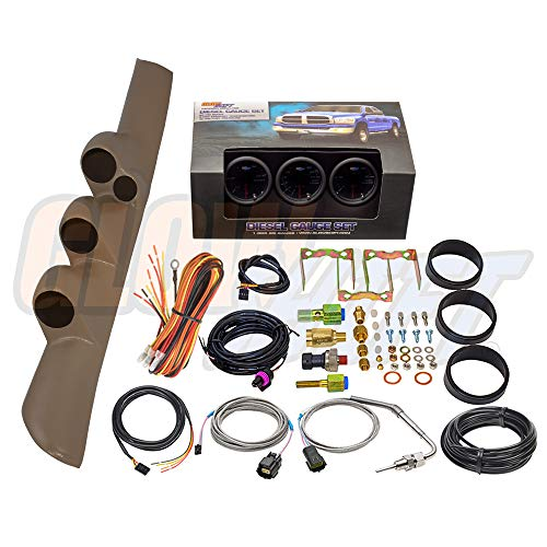 GlowShift Diesel Gauge Package for 1998-2002 Dodge Ram Cummins 2500 3500 - Tinted 7 Color 60 PSI Boost, 2400 F Pyrometer EGT & 30 PSI Fuel Pressure Gauges - Tan Triple Pillar Pod w Speaker Cutout