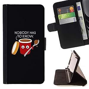 Momo Phone Case / Flip Funda de Cuero Case Cover - Alimentos Cita Negro divertido - Samsung Galaxy Note 5 5th N9200