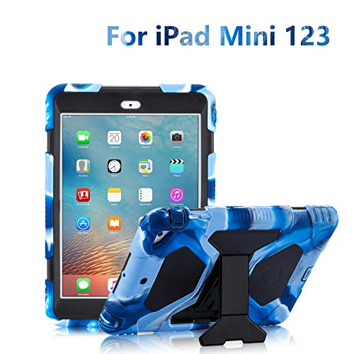 Black Premium Silicone Cover - iPad Mini Case, ACEGUARDER Full Body Protective Premium Soft Silicone Cover with Adjustable Kickstand for iPad Mini 1 2 3 (Navy/Black)